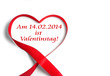 14.02.2014 Valentinstag - Herzschleife auf weiß isoliert