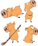 Set of cheerful pigs Cartoon