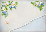 Fototapety Shabby chic vintage wedding floral invitation
