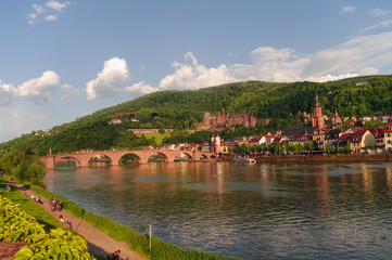 View at old town, castle and city bridge in Heidelberg, Germany