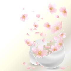 割れた卵から桜 イースター