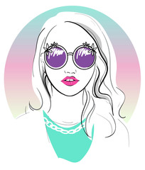 Cute young girl fashion illustration.