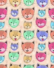 cute cat seamless pattern for children