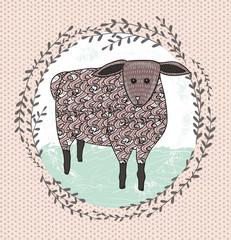 Cute little sheep illustration for children.