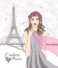 Girl near eiffel tower. Hand drawn Paris postcard.