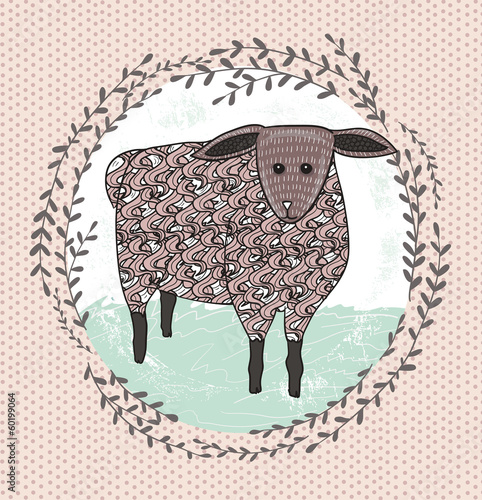 Cute little sheep illustration for children. - 60199064