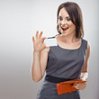 Business woman hold credit card from purse.