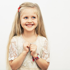 Smiling girl fashion portrait.