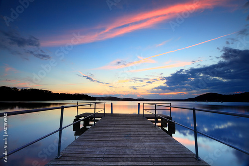 Sunset at Kincumber, Australia, with timber pier
