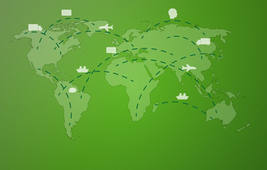 green worldmap with symbols