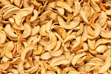 dried slices apples background