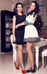 two beautiful sisters with black hair in luxury interior
