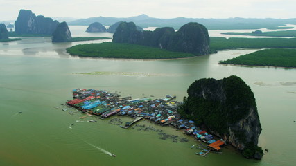 Aerial view Ko Panyi a Muslim fishing village, Phang nga bay, Thailand