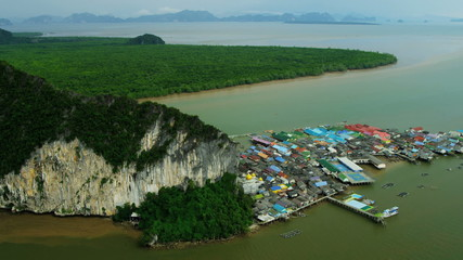 Aerial view Koh Panyi Muslim village restaurants and stalls, Thailand