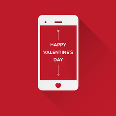 Happy Valentine's Day in smartphone on red