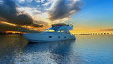 Motoryacht in the Sunset
