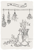 Graphic still life with bindings herbs and olive oil