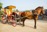 Fototapety Horse carriages for tourist services in Lampang Thailand