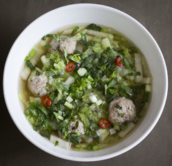 Thai noodle soup with meatballs,