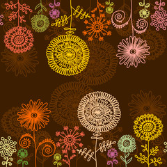 Horisontal seamless floral background