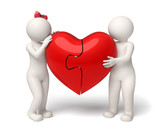 3d loving couple holding a red puzzle heart - Valentines