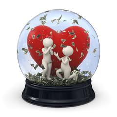 3d couple in snow globe - Marriage money Valentine