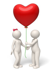 Valentines day 3d couple giving red heart balloon