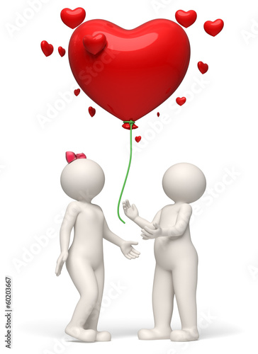 3d couple releasing a red heart balloon Valentines day