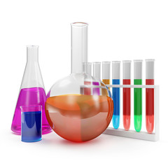 Laboratory Glassware with Colorful Liquid isolated on white