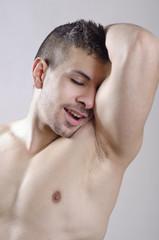Sexy youn man lloking armpit