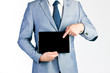 Businessman presenting tablet computer