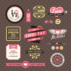 Wedding and Valentine's day Elements labels frames Vintage Style