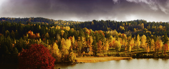 autumn, fall, scenery with lakes and forest, sweden