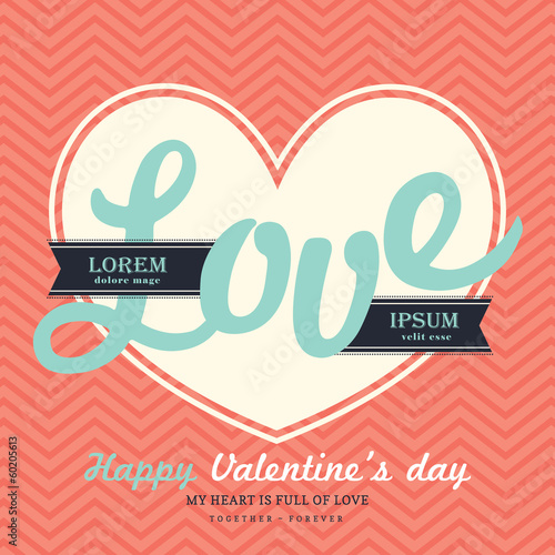 Valentine' s Day Invitation card template with LOVE word