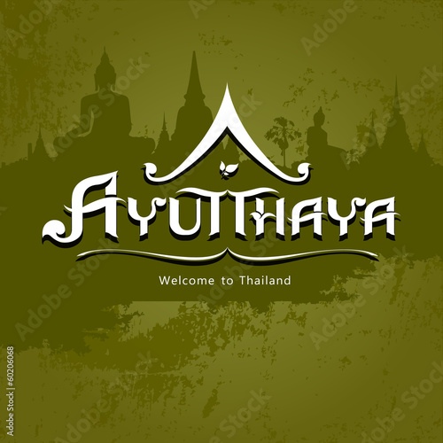 Ayutthaya Province message text design background