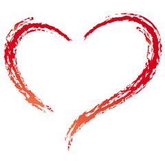 Rotes Herz - Kreidestich - Linie
