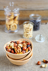 nuts in a bowl and jars