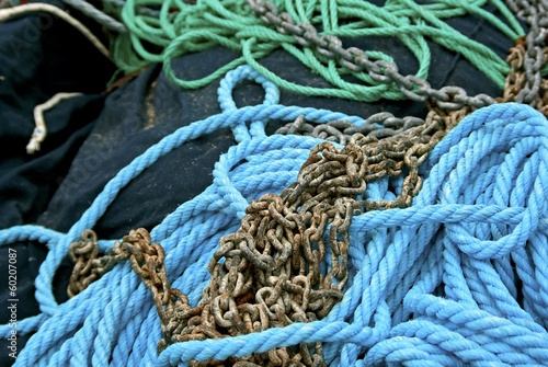 Heap of mooring rope and metal chain.
