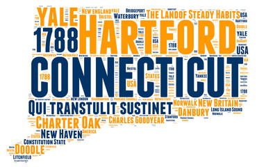 Connecticut USA state map tag cloud