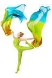 Woman dancing with flying colorful fabric over white