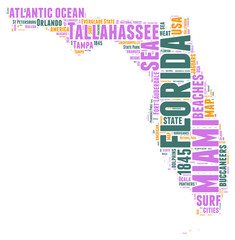 Florida USA state map  tag cloud