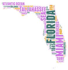 Florida USA state map  tag cloud