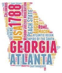 Georgia USA state map tag cloud