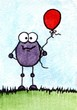 Purple monster with red balloon
