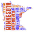 Minnesota USA state map tag cloud