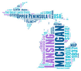 Michigan USA state map tag cloud