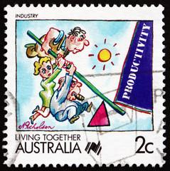 Postage stamp Australia 1988 Industry, Living Together