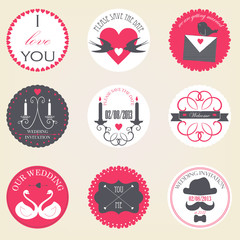 Vector collection of decorative wedding icons