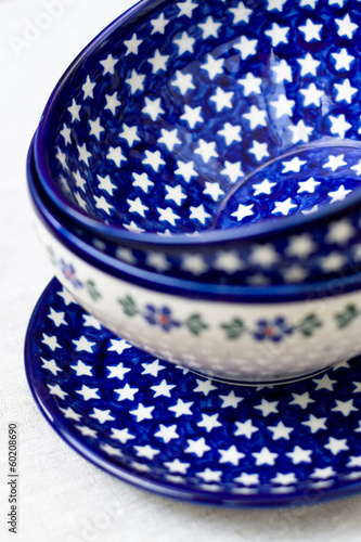 National Polish ceramic dishes on a gray cloth