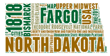 North Dakota USA state map tag cloud